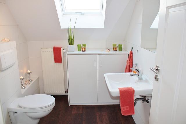 Salle de bains aménagée sous combles avec fenêtre de toit